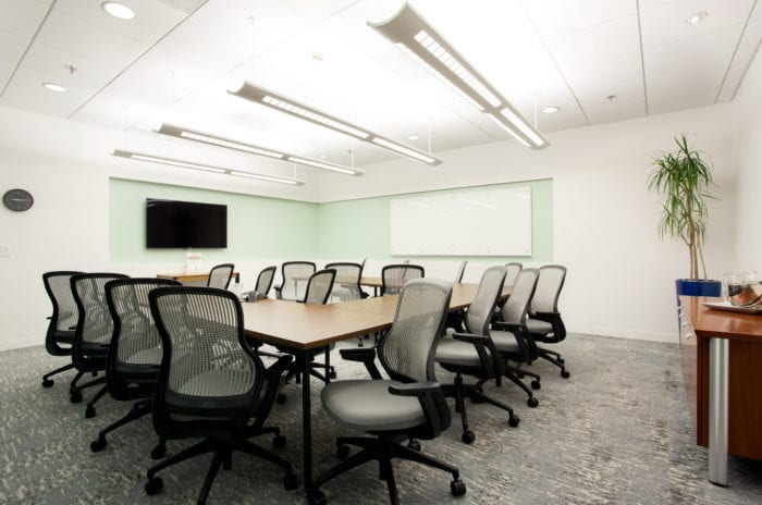 A private conference room in the Carr Workplaces Laguna Niguel location.
