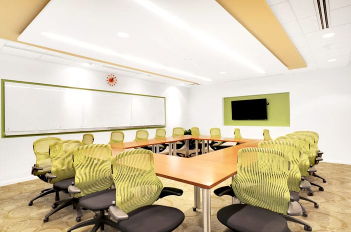 Large conference room with over 18 chairs at Carr Workplaces in Midtown