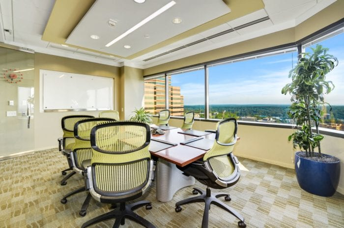 Small meeting room with a large window view of beautiful McLean, Virginia