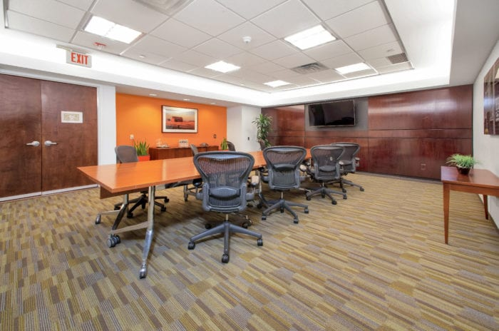 A professional meeting room at Carr Workplaces