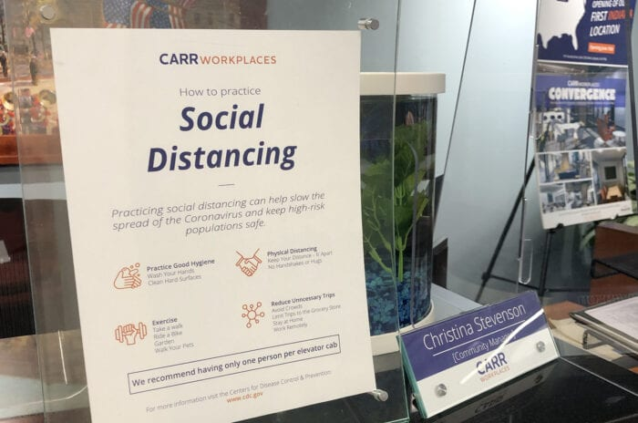 """How to Practice Social Distancing"" guide at Carr Workplaces"