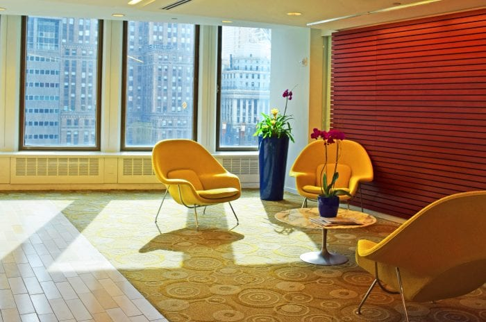 lobby in our Midtown offices, New York, NY - Carr Workplaces