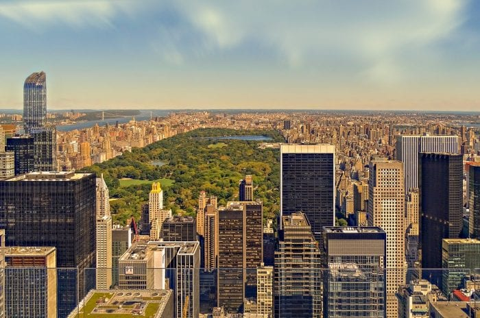 New York City aerial view of Central Park
